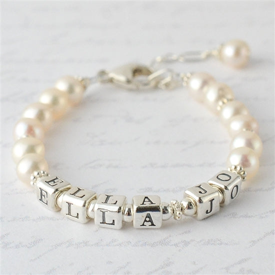 Precious Pearls Name Bracelet - Little Girl's Pearls