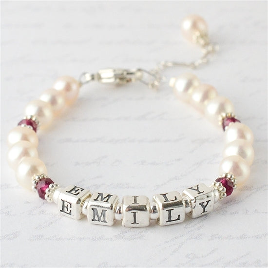 Adorable Pearl and Birthstone Name Bracelet - Little Girl's Pearls