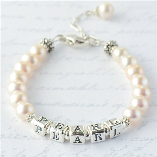 Graceful Pearls Name Bracelet - Little Girl's Pearls