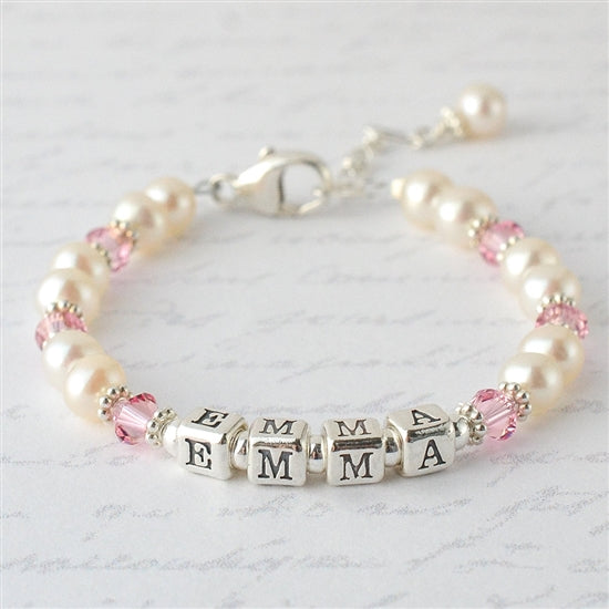 Darling Pearl and Crystal Name Bracelet - Little Girl's Pearls