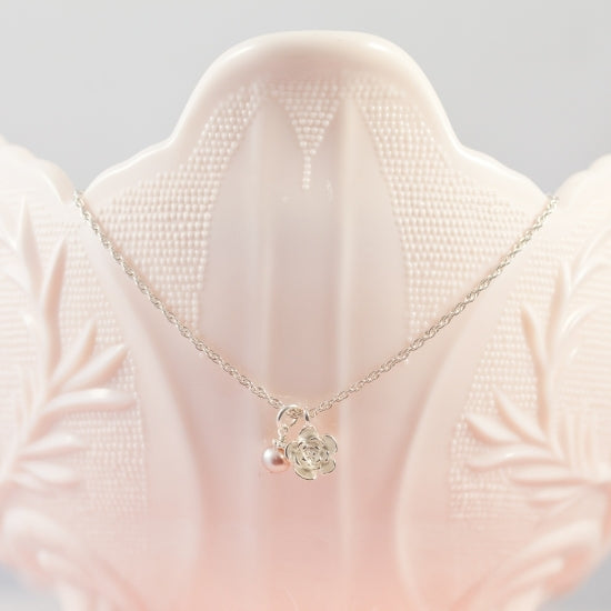 Sweet Flower Keepsake Necklace - Little Girl's Pearls