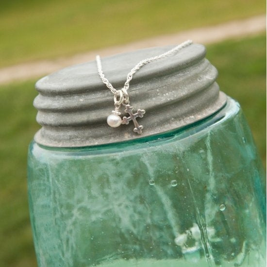 My Keepsake Cross Necklace - Little Girl's Pearls