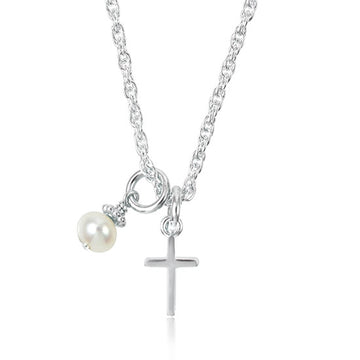 Dainty Itty Bitty Cross Keepsake Necklace - Little Girl's Pearls