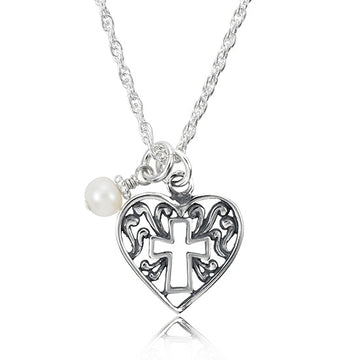 Delicate Heart Cross Keepsake Charm Necklace - Little Girl's Pearls