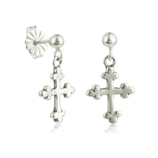 Fancy Cross Dangle Post Earrings - Little Girl's Pearls