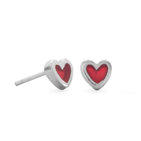 Red Enameled Heart Post Earrings - Little Girl's Pearls