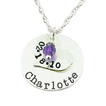 Layered Stamped Charm Necklace - Little Girl's Pearls