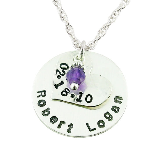 Heart + Circle Layered Charm Necklace - Little Girl's Pearls