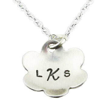 Sweet Flower Hand-Stamped Necklace - Little Girl's Pearls