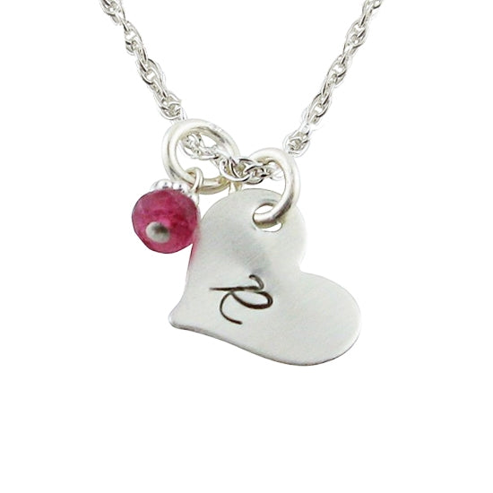 Itty Bitty Sweet Heart Stamped Necklace - Little Girl's Pearls