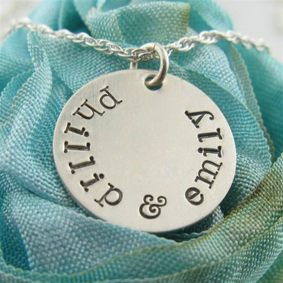 Hand Stamped Circle Necklace - Little Girl's Pearls