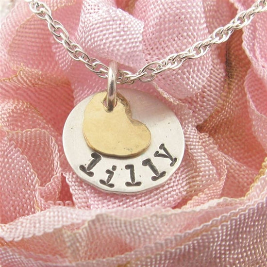 Circle Charm with Gold Heart Stamped Necklace - Little Girl's Pearls