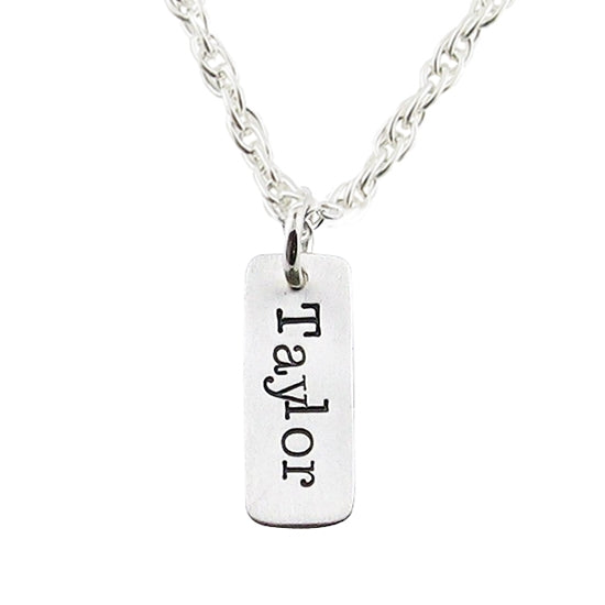 Hand-Stamped Tag Necklace - Little Girl's Pearls