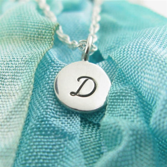 Itty Bitty Circle Stamped Initial Necklace - Little Girl's Pearls