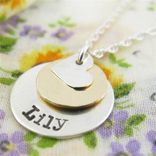 Layered Hand Stamped Necklace - Little Girl's Pearls