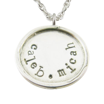 Large Raised Edge Stamped Charm Necklace - Little Girl's Pearls