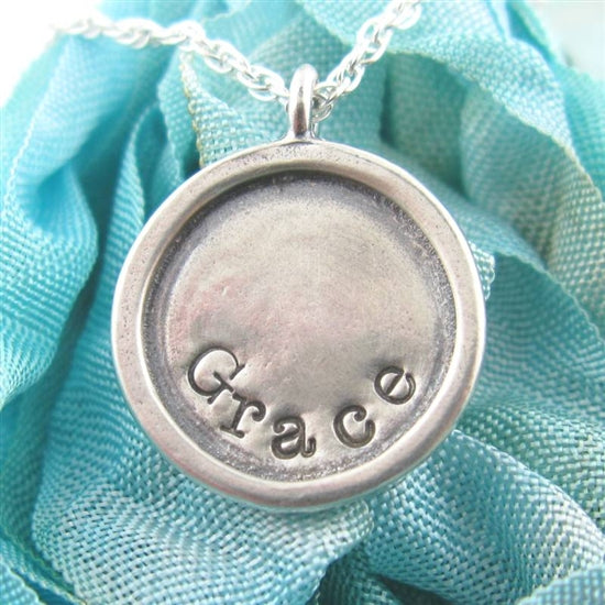 Raised Edge Stamped Charm Necklace - Little Girl's Pearls