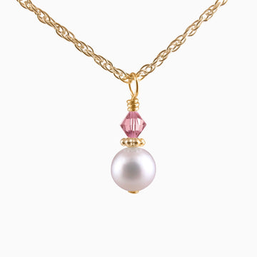 Darling My Keepsake Pearl + Crystal Necklace in Yellow Gold