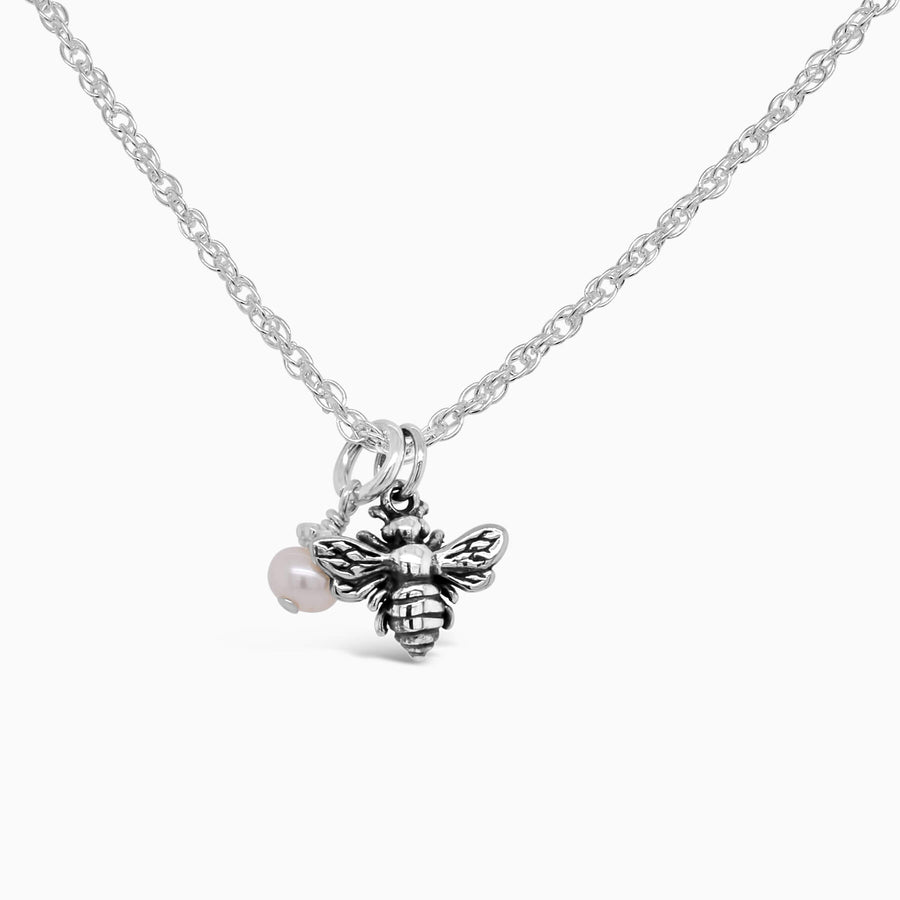 Ittiest Bittiest Bee Necklace in Silver - Little Girl's Pearls