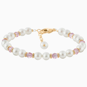 Darling Pearl and Crystal Bracelet in Yellow Gold