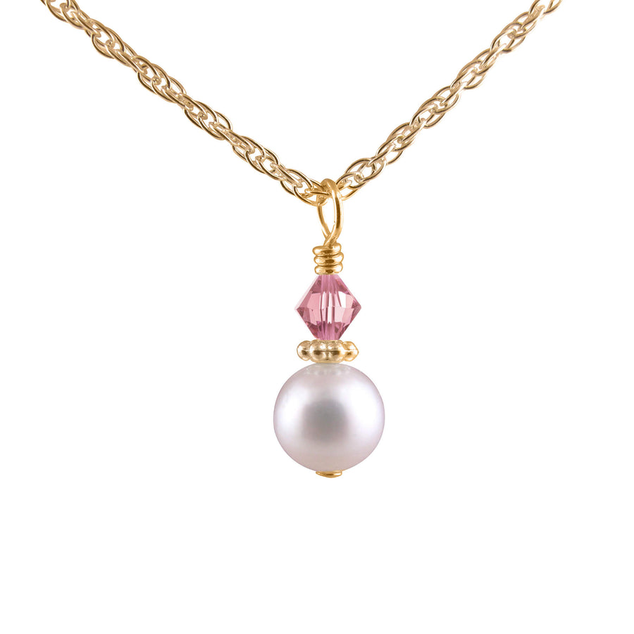 Darling my keepsake pearl and crystal necklace in gold.