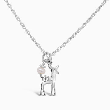 Buttercup the Deer Necklace - Little Girl's Pearls