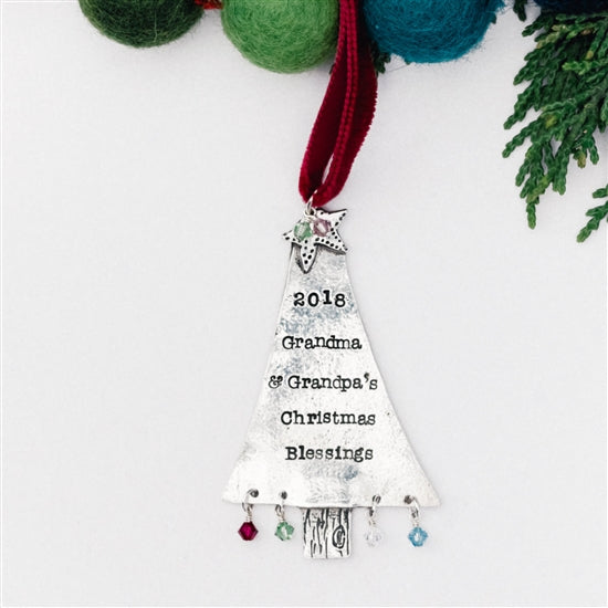 Personalized Christmas Tree Ornament - Grandparents - Little Girl's Pearls
