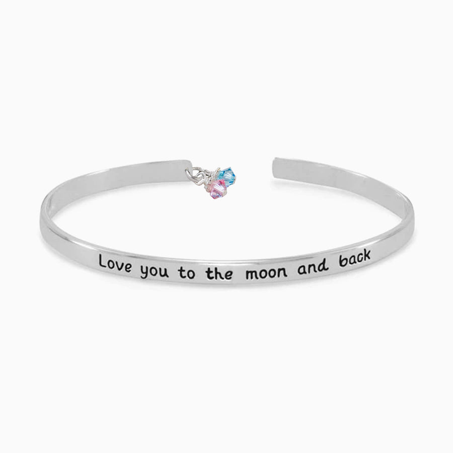 Love You to the Moon and Back Mom Cuff Bracelet - Little Girl's Pearls