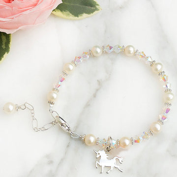 Sparkle Unicorn Bracelet - Little Girl's Pearls
