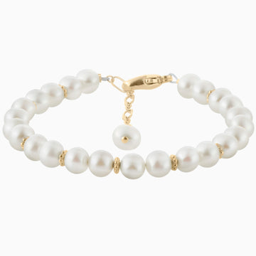 Custom Precious Pearls Bracelet in Gold-Filled + Gold Cross Charm