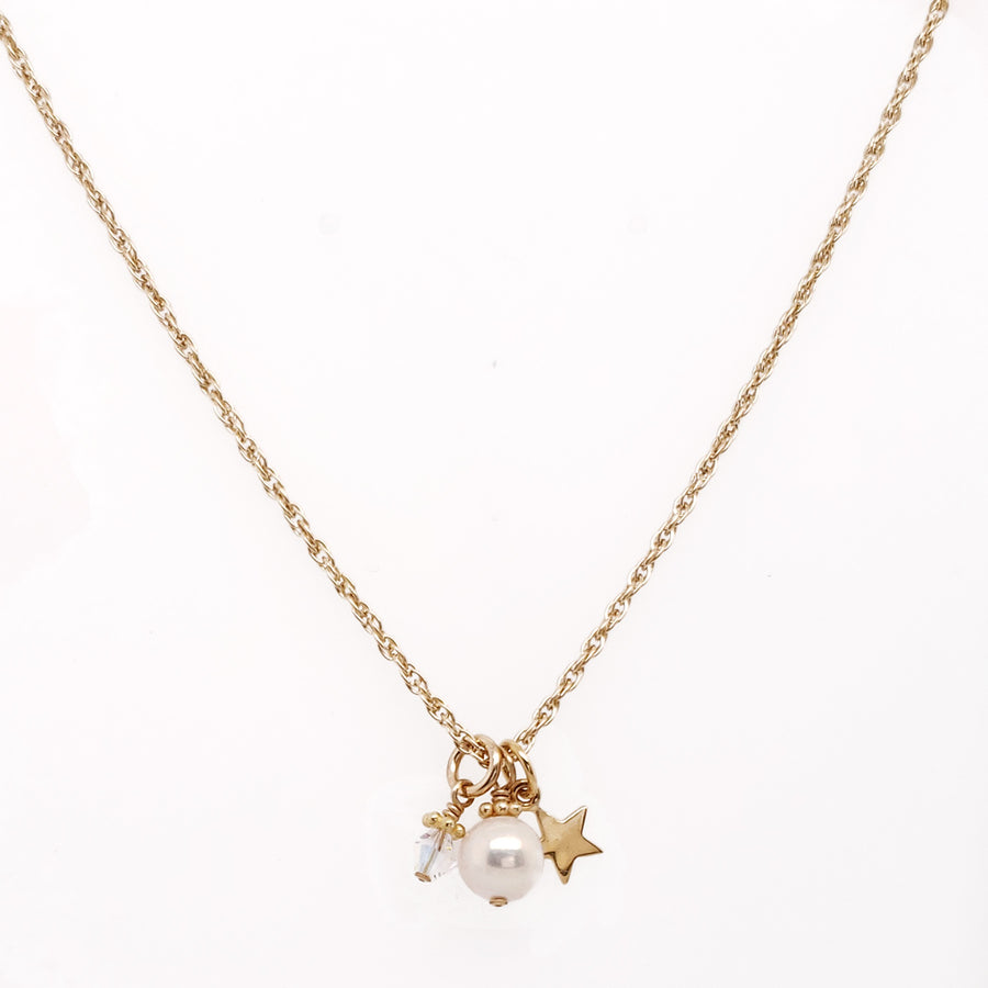 Wish on a Star Necklace in Gold-Filled - Little Girl's Pearls