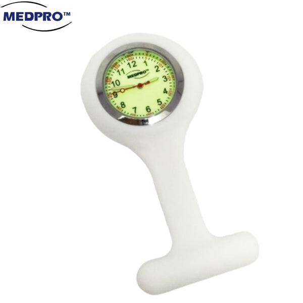 Pure White Silicon Luminous Nurse Brooch Watch