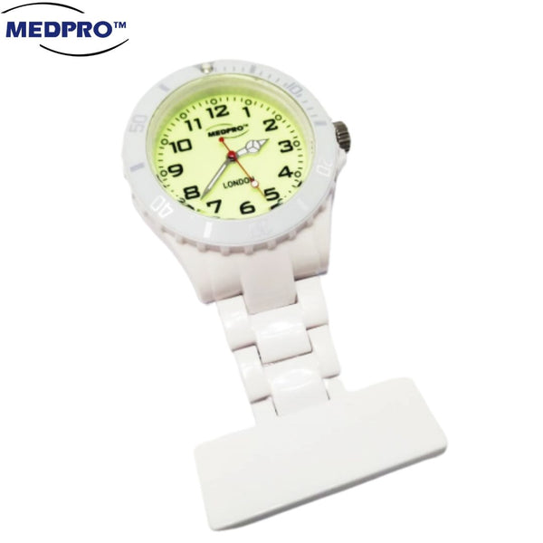 MEDPRO™ Pure White Nurse Brooch Watch With Luminous Watch Face