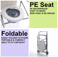 Anti-Rust Aluminium Alloy Foldable, Portable & Adjustable Mobile Commode Chair with 4 Wheels & 4 Brakes / Locks