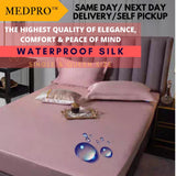 Waterproof Silk Bed Sheet / Bed Mattress Cover / Mattress Protector Pad Fitted Sheet / Bed Linens with Elastic Corners [Single Bed Size]