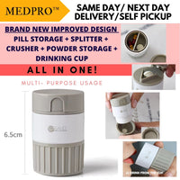 Multi-purpose Medication Storage + Cup + Pill Splitter + Medicine Crusher Grinder
