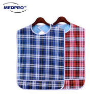 MEDPRO™ Adult Bib with Pocket 45cm x 75cm in Plaid Blue/Red (Waterproof & Reusable!)