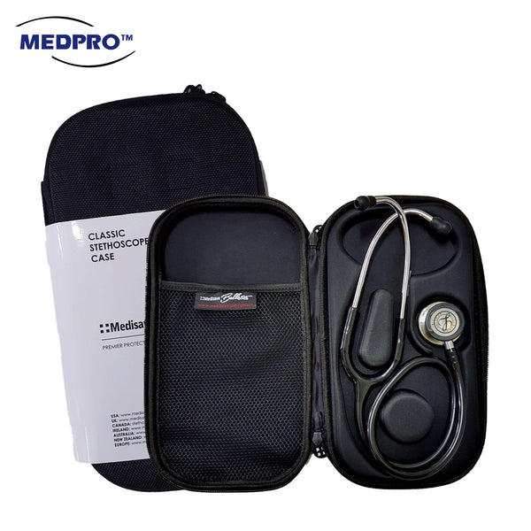 MEDISAVE Ballistics Premium Classic Stethoscope Case / Pouch / Bag - All Black