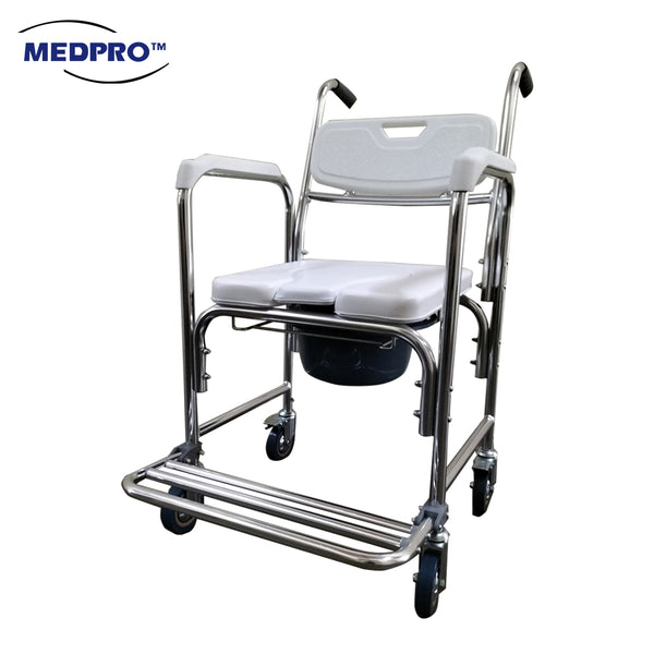 MEDPRO™ Maxi Deluxe Recliner 0-90° Wheelchair with Removable Headrest, Commode and elevated Leg Rest Support (Suitable for Self-Propelled)