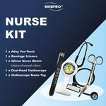MEDPRO™ Nurse Kit: Alloy PenTorch + Nurse Brooch Watch (Choice of 4 colours) + Bandage Scissors with Clip Holder + Dual-Head Stethoscope + Stethoscope Name Tag