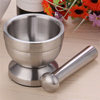304 Stainless Steel Mortar & Pestle with Cover | Medicine Crusher & Grinder