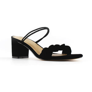 LIMA <br/>mid-heel leather sandal - Black