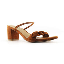 LIMA <br/>mid-heel leather sandal - Cognac