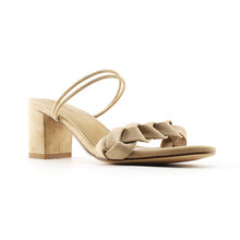 LIMA <br/>mid-heel leather sandal - Beige