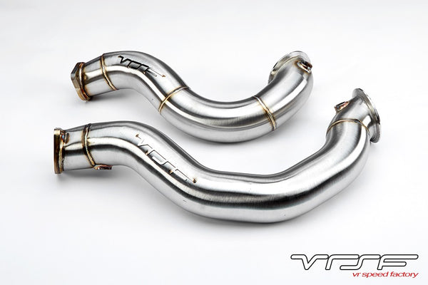 "VRSF 3"" Cast Stainless Steel Catless Downpipes - BMW E Series 135i/335i N54"