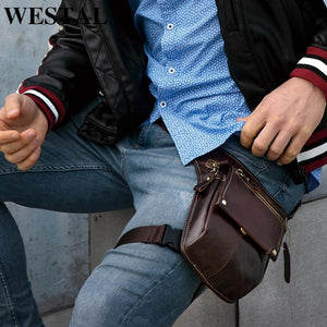 Men's Leather Leg Fanny Pack
