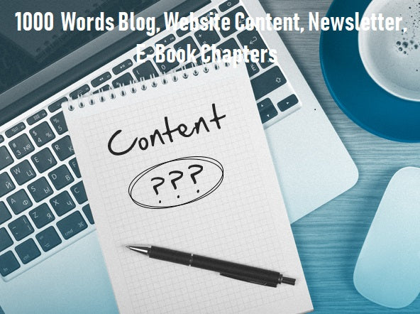 1000  Words Blog, Website Content, Newsletter, E-Book Chapters