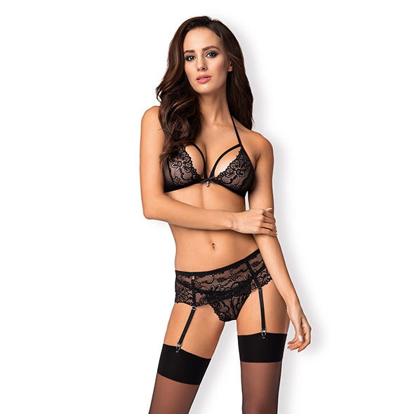 Obsessive 838-SEG-1 Ensemble Lingerie 3 Pieces Noir