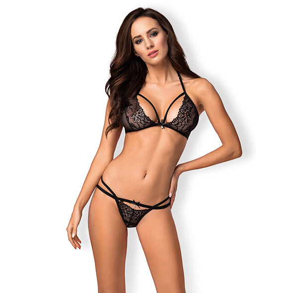 Obsessive 838-Set-1 Ensemble Lingerie 2 Pieces Noir
