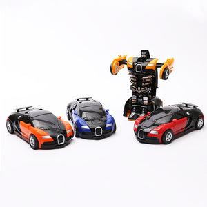 2 in 1 Driving Sports Cars One-button Deformation Toy